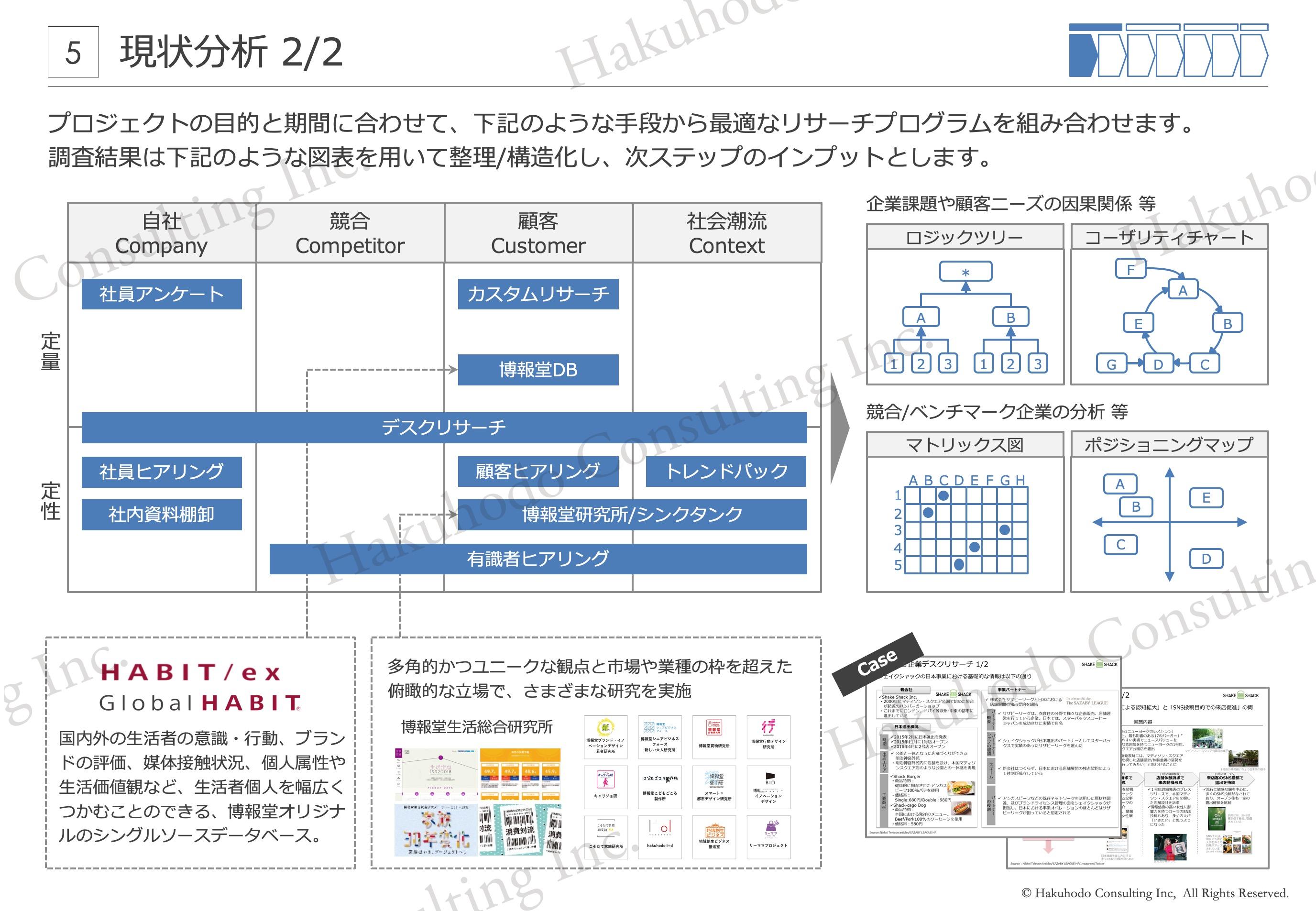 プロジェクトの目的と期間に合わせて、下記のような手段から最適なリサーチプログラムを組み合わせます。調査結果は下記のような図表を用いて整理/構造化し、次ステップのインプットとします。