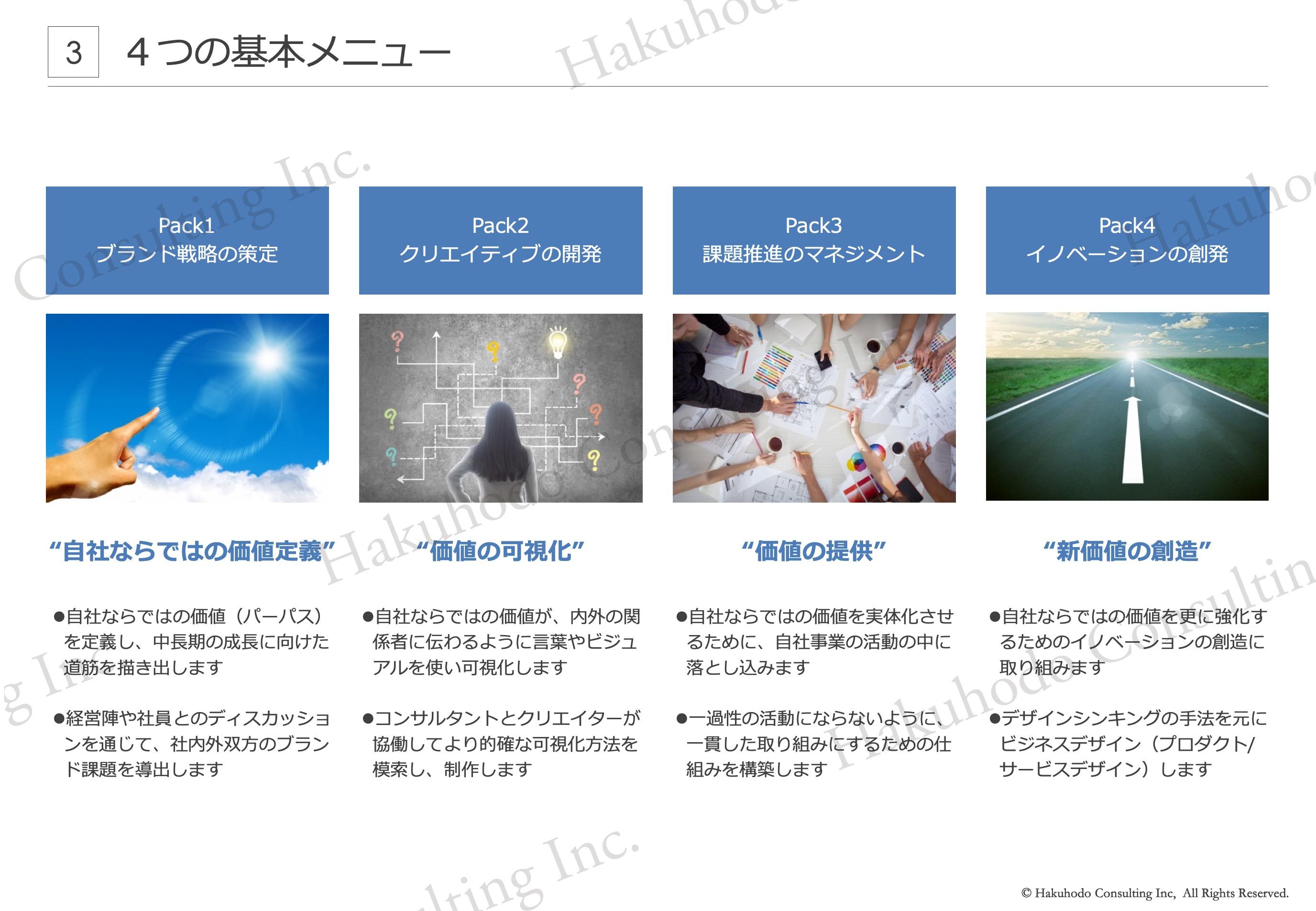"""Pack1ブランド戦略の策定""""自社ならではの価値定義""""Pack2クリエイティブの開発""""価値の可視化""""Pack3課題推進のマネジメント""""価値の提供""""Pack4イノベーションの創発""""新価値の創造"""""""